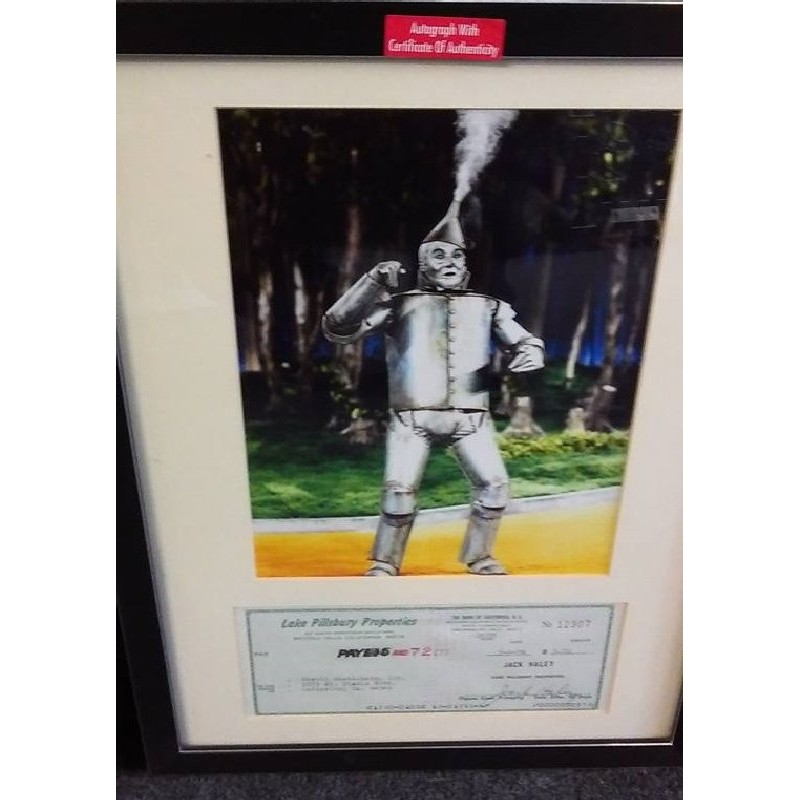 Jack Haley Signed Cheque In Frame Wizard Of Oz