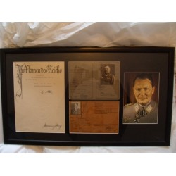 Adolf Hitler & Hermann Goring Signed Documents (Framed)