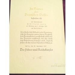 Adolf Hitler and Werner Blomberg Signed Document 1937