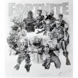 Jonathan Wood pencil drawing - Fortnite