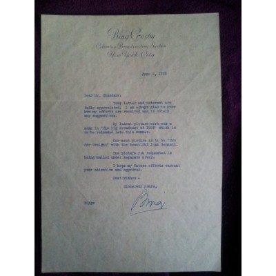 Bing Crosby Signed Letter 1935