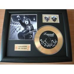 Angus Young Gold Vinyl and Plectrum Display (Preprint) - AC/DC