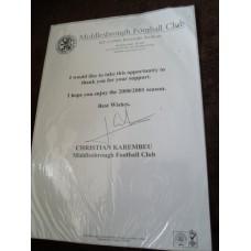 Christian Karembeu Signed Letter (France; Middlesbrough)